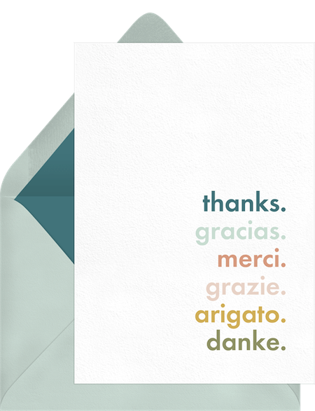 Multilingual Thanks Card by Greenvelope