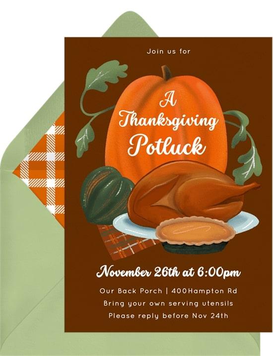 Friendsgiving invitations: Thanksgiving Potluck Invitation