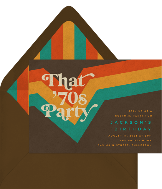 70s theme party: That 70s Party Invitation