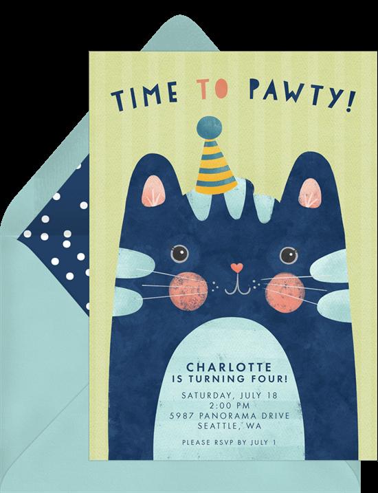 Birthday invitations templates: Time to Pawty Birthday Invitation