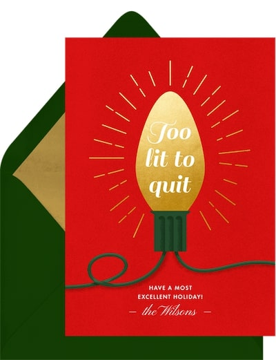 Funny Christmas cards: Too Lit to Quit Card