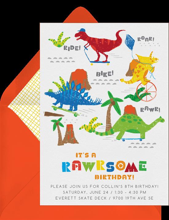 Dinosaur birthday invitations: Totally Rawrsome Invitation