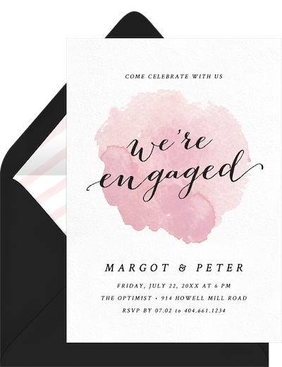 engagement party invitation wording: pink and black engagement invitation