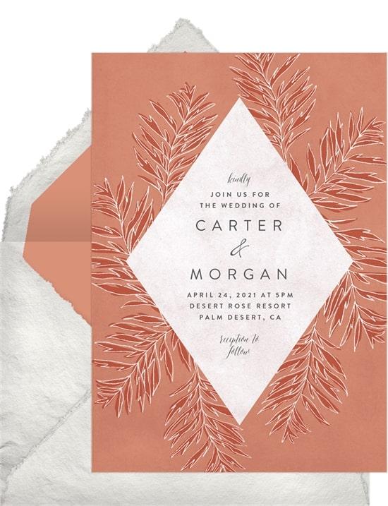 Rustic wedding ideas: Wispy Palm Leaves Invitation