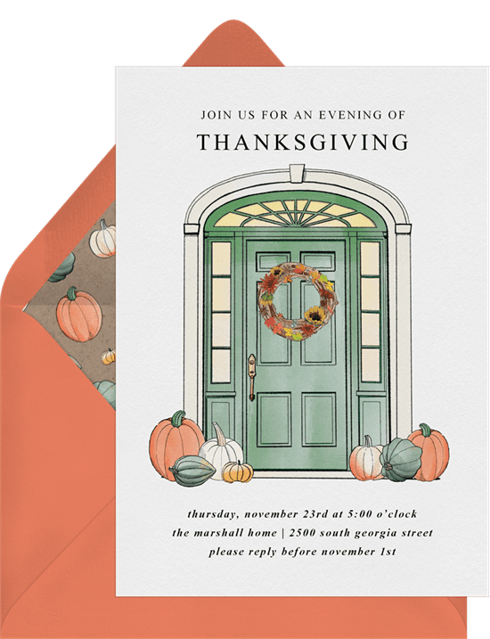 A Thanksgiving invitation with an illustrated door surrounded by pumpkins