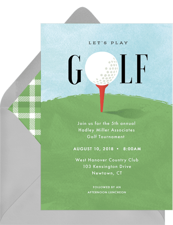 A corporate event invitation for a golf outing