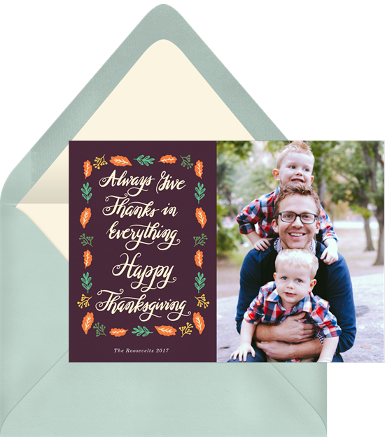 A Thanksgiving invitation with room for a family photo