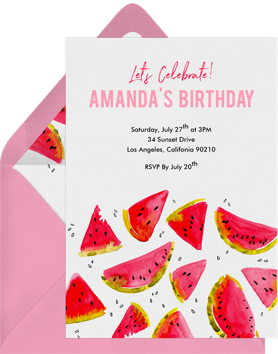 summer party ideas: watermelon party invitation from Greenvelope