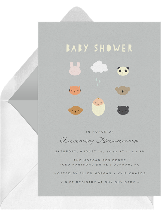 Online baby shower invitations with illustrated baby animals around baby getting showered on by a cloud