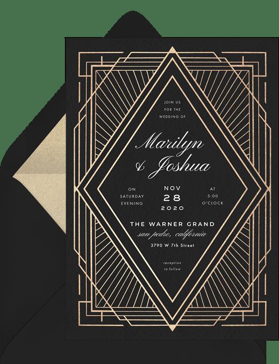Art Deco wedding invitation: Art Deco Diamond Invitation from Greenvelope