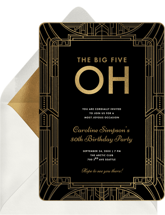 The Big Five Oh party invitation from Greenvelope