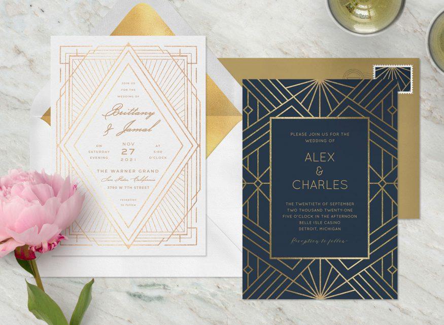 Art Deco wedding invitation: sample wedding invitations from Greenvelope