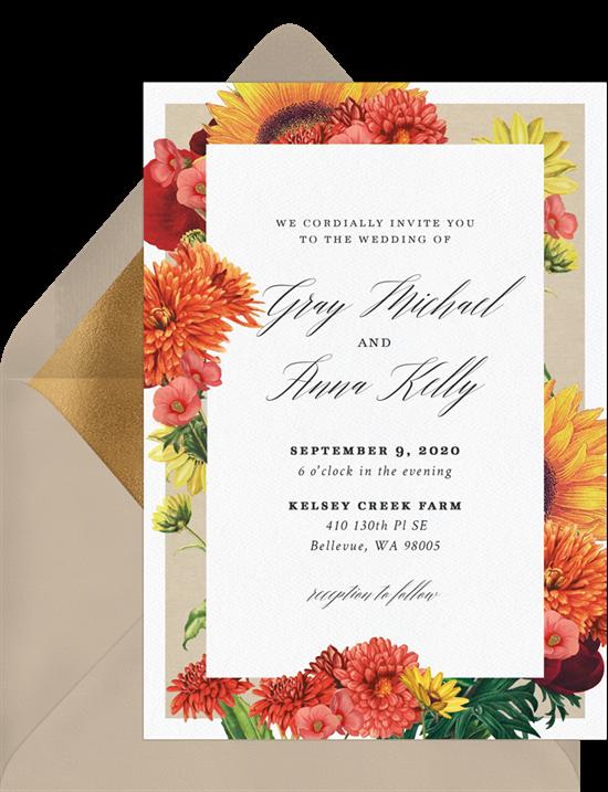 fall wedding invitations: Autumn Dahlias Invitation from Greenvelope