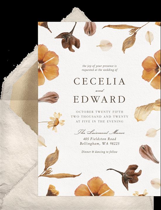 Halloween wedding ideas: Autumn Florals Invitation from Greenvelope