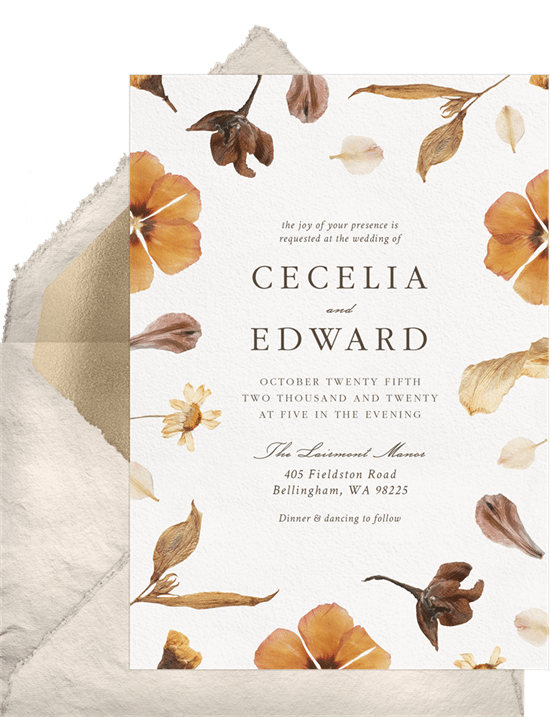 fall wedding decorations: Autumn Florals Invitation from Greenvelope