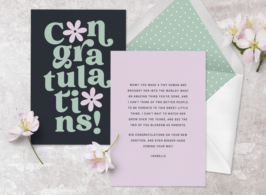 baby congratulations: congratulations on the new baby card from Greenvelope