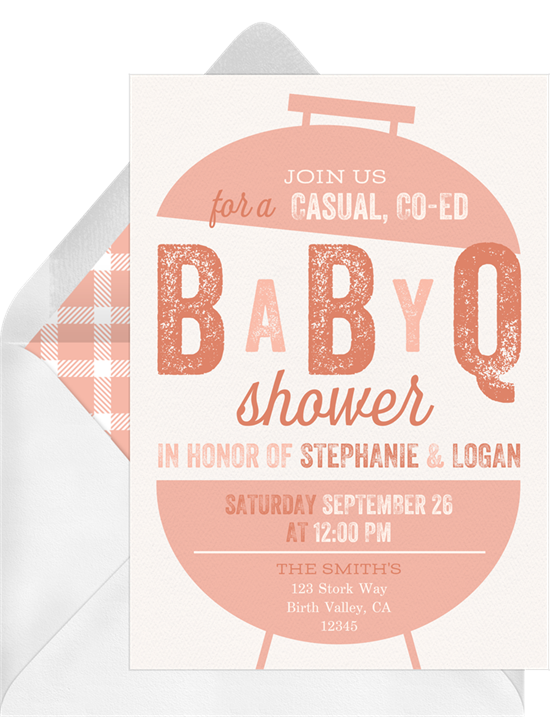 Baby shower ideas: An invitation with a grill for a Baby-Q shower