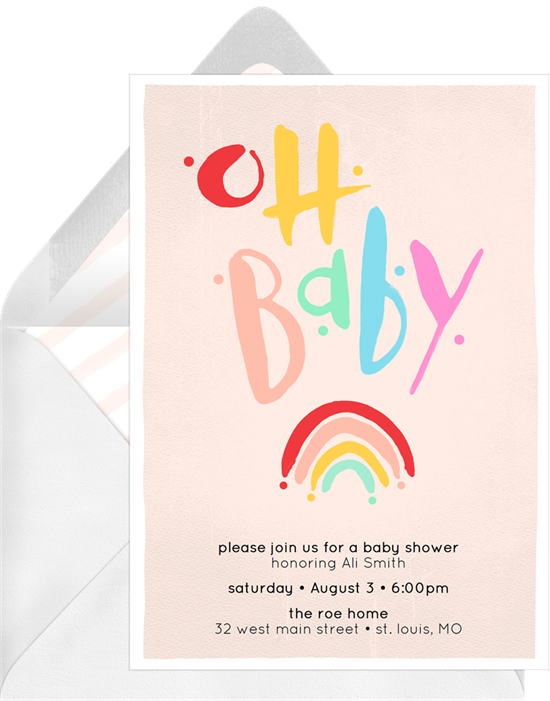 """Online baby shower invitations with a rainbow and the words """"Oh Baby"""""""
