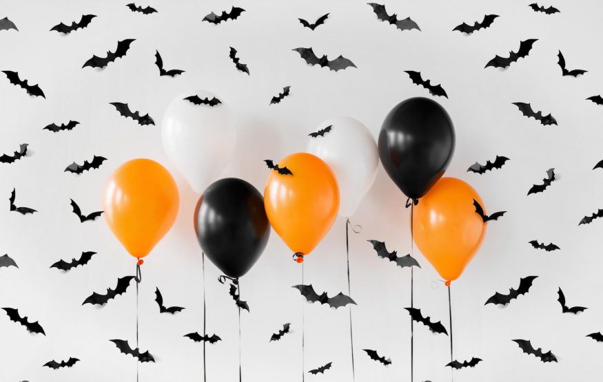 Halloween decor with bats and balloons