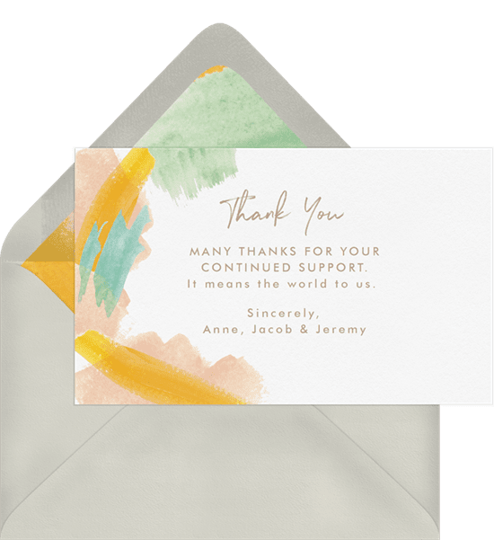 Abstract watercolor brushstrokes business thank you cards