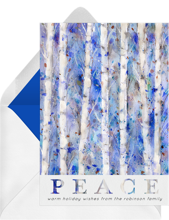 "Digital photo cards with a blue and white, watercolor birch forest and the word ""PEACE"""