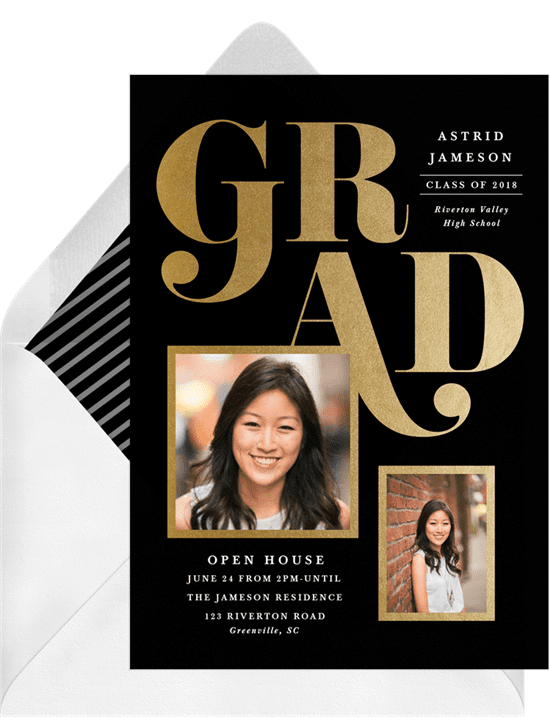 Big bold grad invitations black
