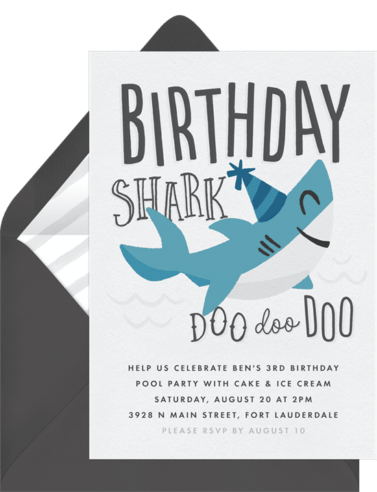 Funny birthday cards: birthday shark invitations white