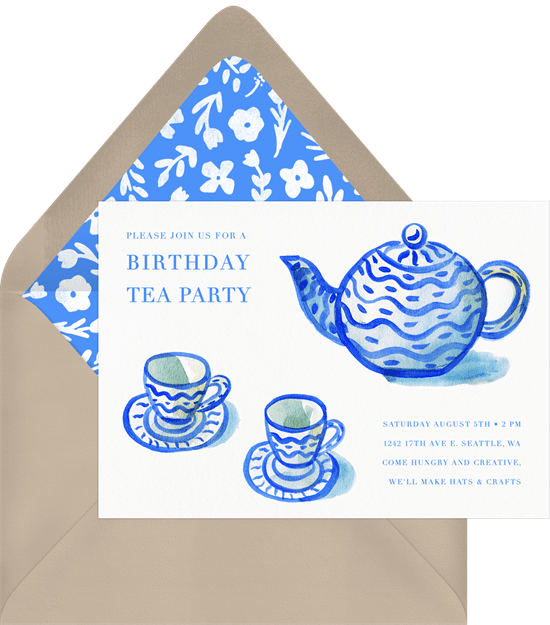 tea party ideas: Tea Time Invitation in blue from Greenvelope