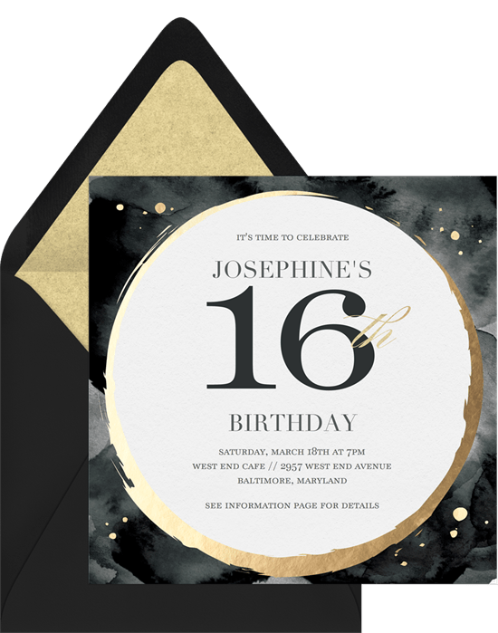 sweet 16th invitation wording: black and gold themed sweet 16 invitation