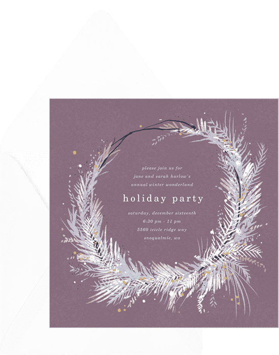 A holiday party invitation with a wintery wreath border