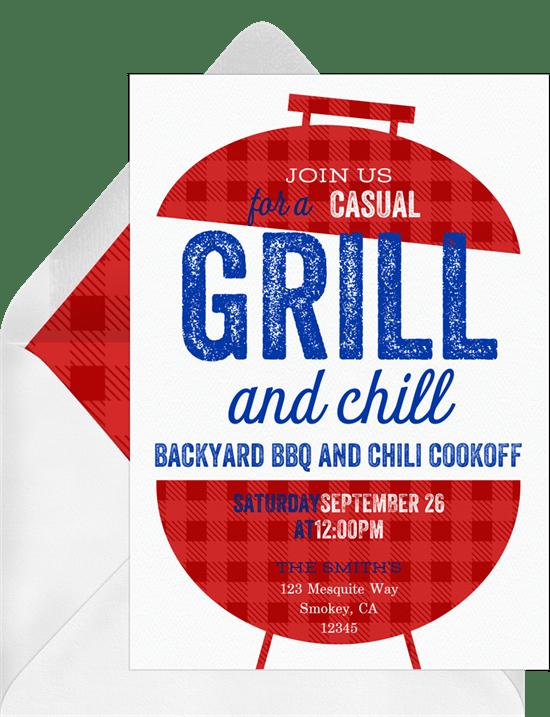 Labor Day party idea: Bold BBQ Invitation from Greenvelope