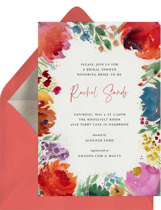 Bridal shower invitations: Bold bouquet invitations