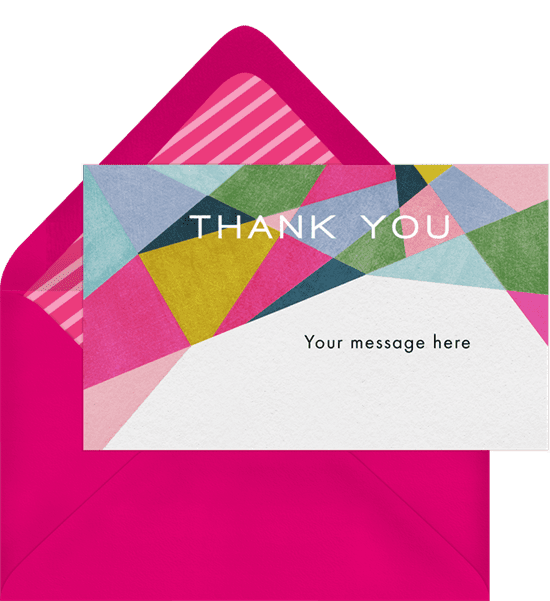 Bold geometric print business thank you cards