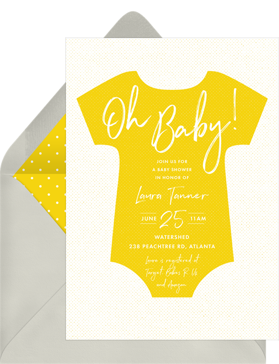 Online baby shower invitations featuring a yellow onesie