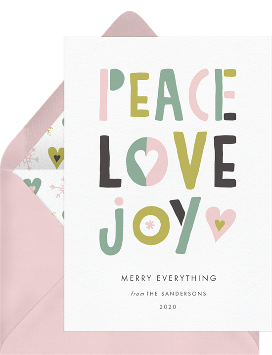 """Digital holiday cards with playful, pink and green lettering that spells out """"Peace, Love, Joy"""""""