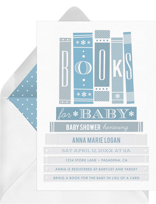 Online baby shower invitations with stacks of books