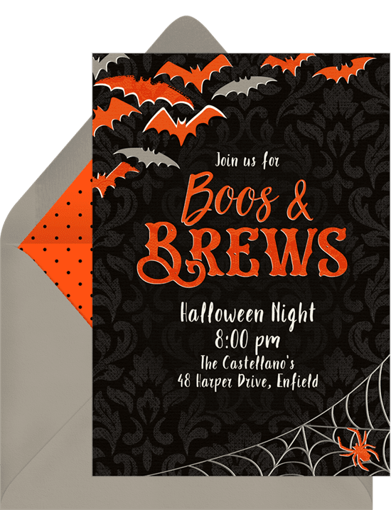 "Halloween party invitations that read ""Boos & Brews"""
