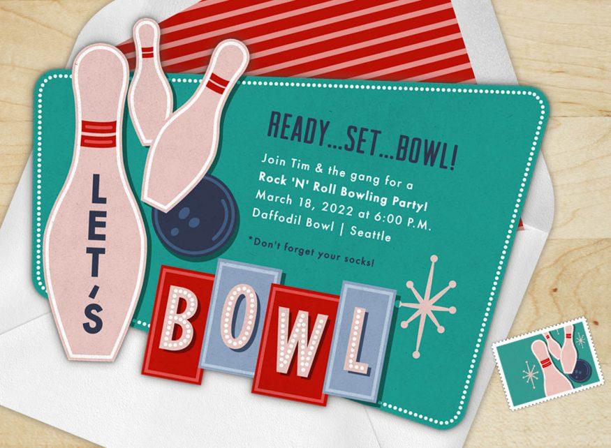 bowling party invitations: Ready, Set, Bowl!