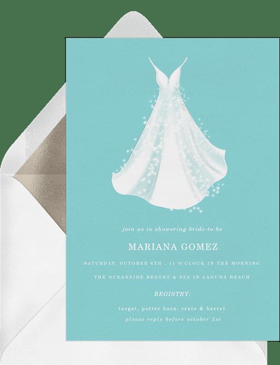 Bridal shower invitations: bridal gown invitations