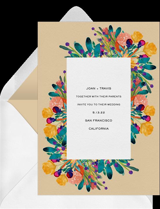 brunch wedding: bold florals wedding invitation from Greenvelope