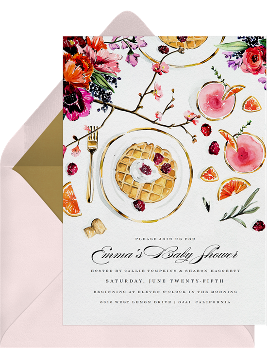 Online baby shower invitations with watercolor flowers, plates of waffles, and fancy drinks