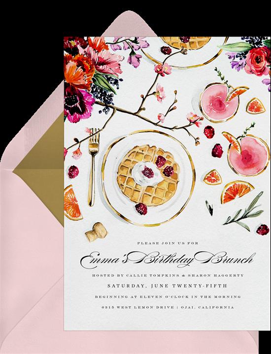 brunch blooms wedding invitation from Greenvelope