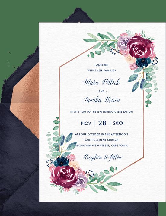 Burgundy Blossoms Invitation from Greenvelope