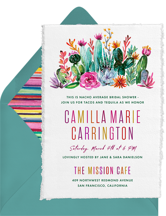 Bridal shower invitations: cactus blossoms invitations