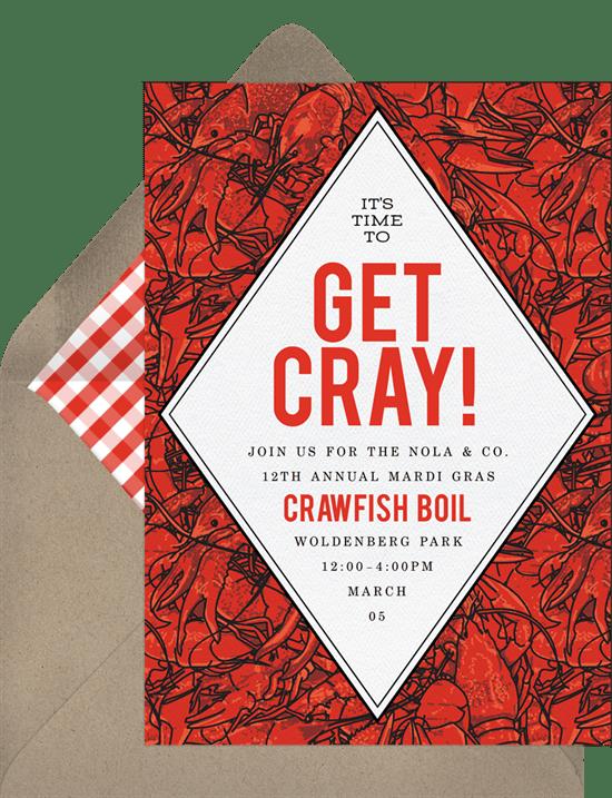 Labor Day party idea: Cajun Crawfish Invitation from Greenvelope
