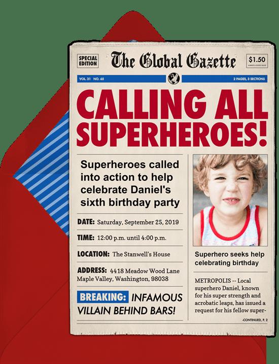 Eagle Scout Invitations: calling all superheroes invitations