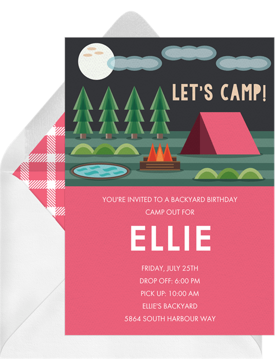 slumber party ideas: camp out party invitation from Greenvelope