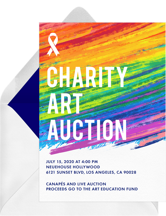 Pride themed charity art auction invitation from Greenvelope