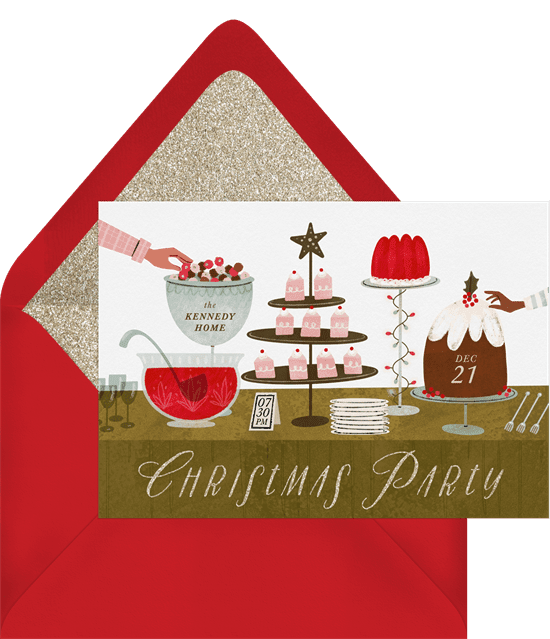 A Christmas party invitation featuring an illustrated buffet