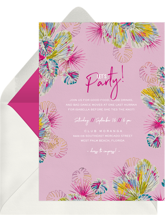 Bachelorette party ideas: A colorful, tropical invitation